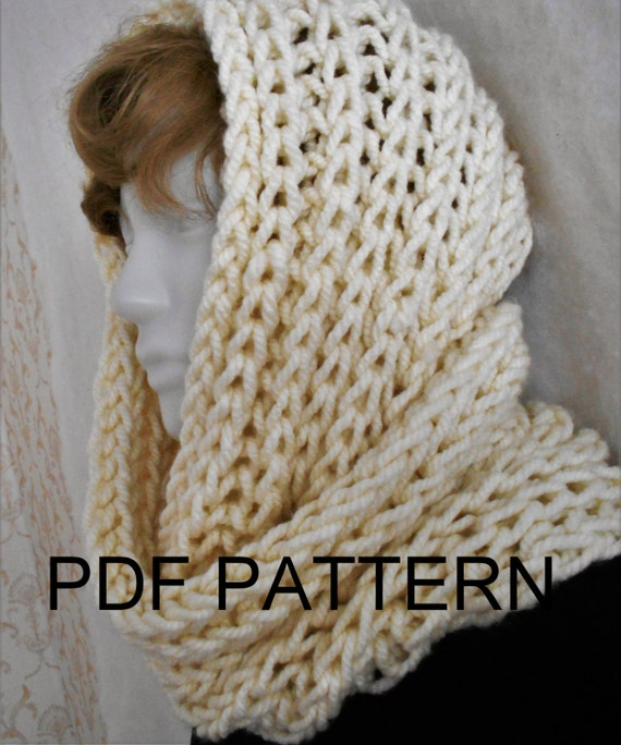 PDF KNITTING PATTERN for easy knit super chunky bulky infinity scarf cowl nec...