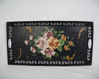"""antique Tole Tray hand painted black reticulated rim toleware 12"""" x 24"""""""