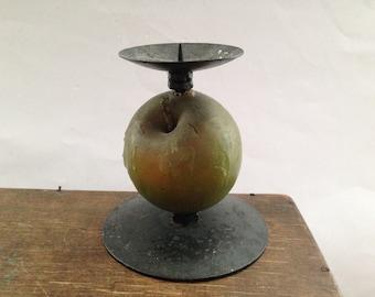 Vintage apple Candle Holder Kitchen candle holder Green apple candle holder