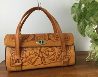 Vintage 1960's Hand Tooled Leather Handbag