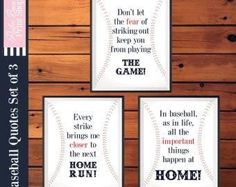 Baseball Quotes Wall Art - Baseball Nursery Decor - Printable Baseball Wall Art Set of 3 - Baseball Theme - Instant Download