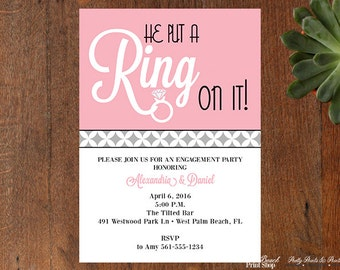 Printable Engagement Announcement Invitations - He Put A Ring On It Save the Date - Engagement Announcement