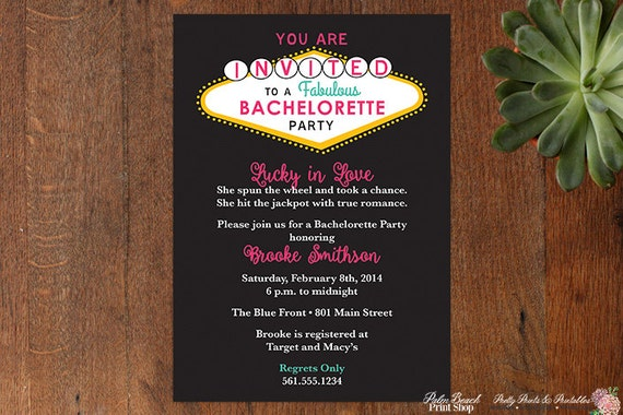 Las Vegas Bachelorette Party Printable Invitations Casino – Las Vegas Bachelorette Party Invitations
