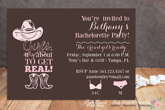 cowgirl bachelorette party invitations printable country, Party invitations