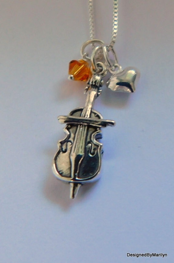 Sterling silver Cello necklace, musician necklace, personalized music necklace, music instructor, music student