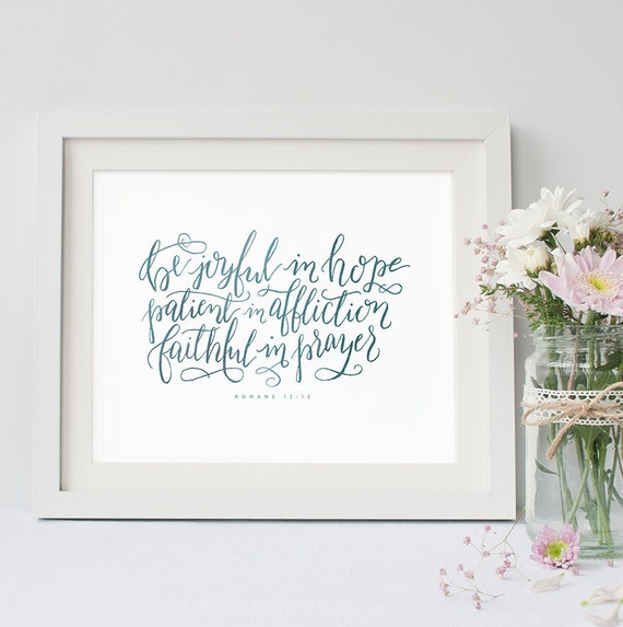 Romans bible verse print encouraging by