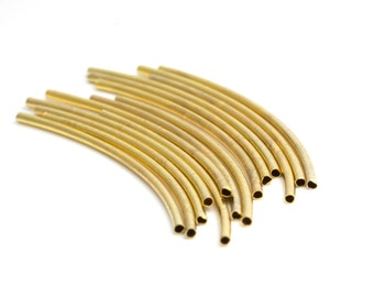 Gold Curved Tube, Gold Plated Over Brass Tube for 1mm Leather Cord, Pkg of 6 pcs, C0NG.GO01.P06