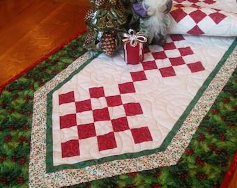 Rustic Checkerboard Christmas Tablerunner