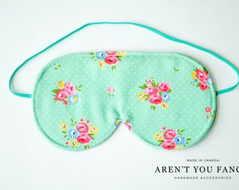Eye Mask, Sleep Mask, Travel Mask, Handmade Cotton Floral Vintage Inspired Pattern Mask by Aren't You Fancy