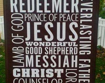 Names of Jesus subway Art, religious subway art, Jesus sign, religious decor, home decor