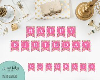 Full Alphabet Banner Inspired by Lily Pulitzer, A-Z Printable for Bridal/Baby Shower, Birthday, Pink Roses {Instant Download}