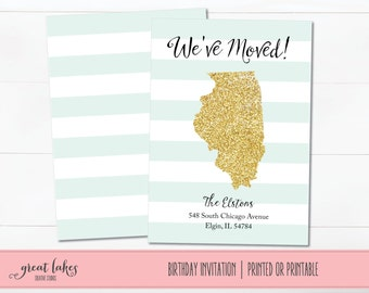 We've Moved Announcement, Glitter State Moving Cards, Change of Address Post Cards, We're Moving Announcement, New Home Card Announcement