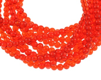 Clear Bright Cherry Red 6mm Round Glass Beads - Full 16 inch strand - Approximately 72 beads