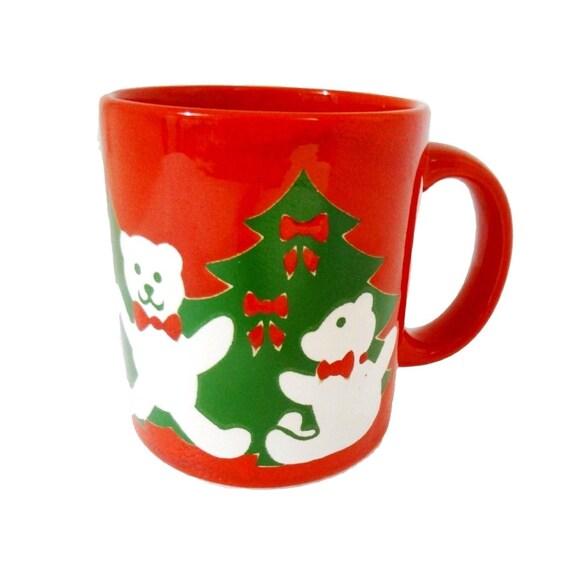 Waechtersbach Christmas Coffee Mug, Christmas Mug, Holiday Coffee Mug from W Germany, Teddy Bear Christmas Mugs