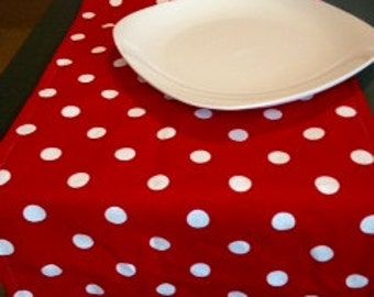 birthday party, mickey mouse party,wedding polka dot  red and white table runner