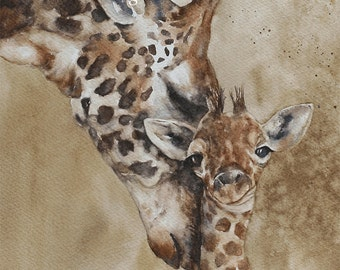 for him animal painting watercolor painting baby giraffe painting of baby giraffe print baby giraffe art print  ATC SMALL Trading Card d
