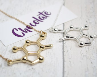 Chocolate Molecule Necklace, Chocoholic Gift, Mothers Day Gift, Chocolate Lover Gift, Foodie, Chemistry Necklace, Scientist, Student Gift