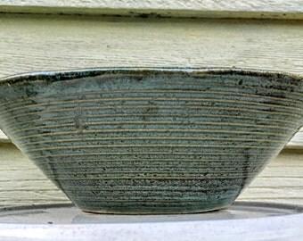 "Zanesville STONEAGE MODERN mid century 8"" tapered art pottery bowl in foamy green glaze - vintage modern stoneware"