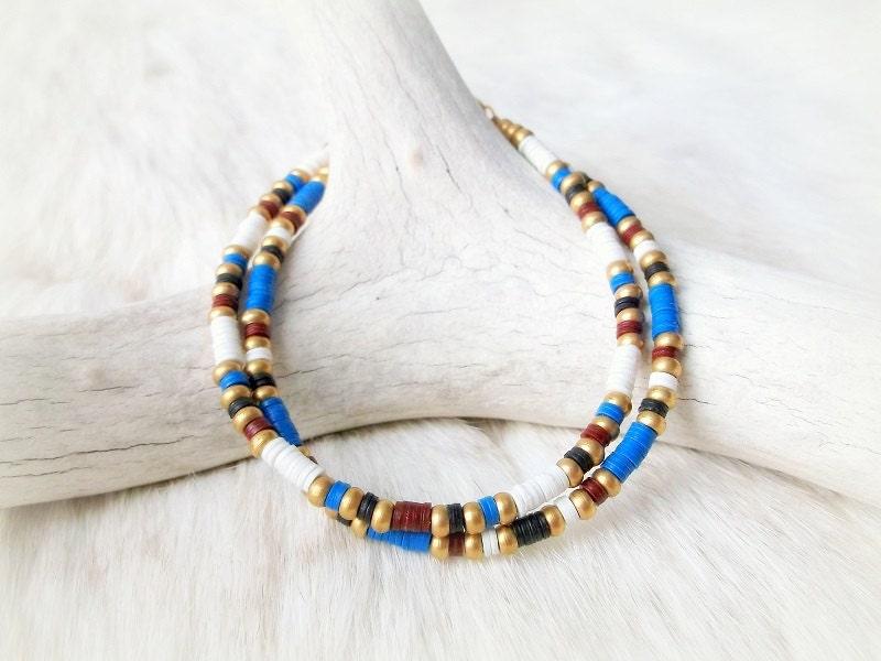 Tribal Bracelet African Vinyl Beaded Friendship Bracelet