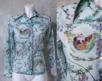 vintage 90s s Novelty print blouse/ blue mint green purple  retro woman face  print blouse/ S