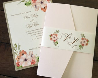 Watercolor Flower Invitation // Outdoor Wedding Invitation // Spring // Florals // Rustic