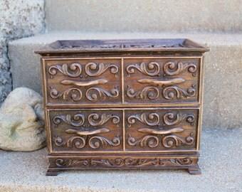 Lerner Jewelry Box, Cast Molded Plastic Brown Scrolls, Ornate Faux Wood Gift Idea