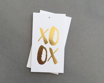 Gold foil gift tags, XOXO. Gold XOXO Gift Tags, Real Foil