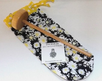 Drop Spindle Starter Kit - Daisies Black