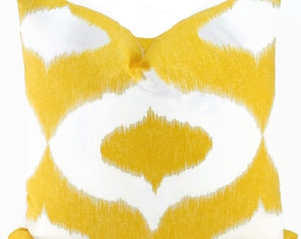 SALE! Yellow & White Ikat Pillow Cover, Duralee Yellow Ikat Pillow Cover, Throw Pillow Cover, 16x16, 18x18, 20x20