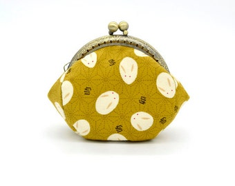 Shells Rabbit with Yellow Coin Purse - Cotton fabric with silver metal frame