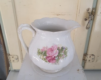 Shabby Chic Cottage Style Pink Roses White Pitcher