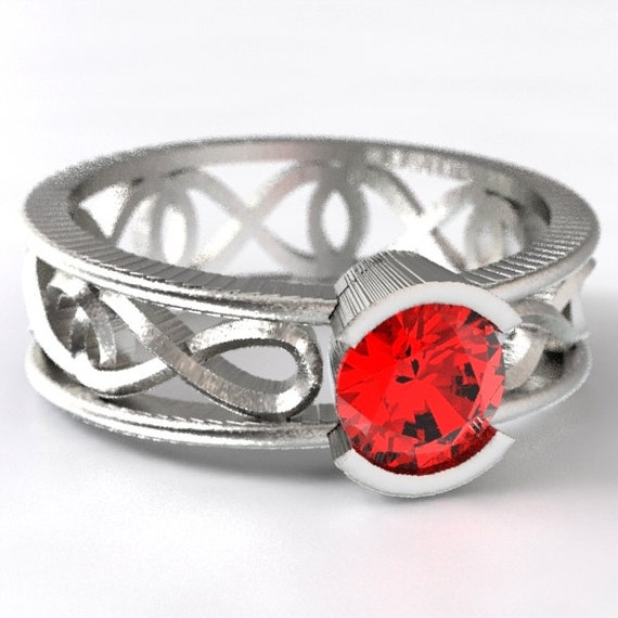 Celtic Ruby Ring, Unique Engagement Ring, With Infinity Symbol Design in Sterling Silver, Made in Your Size CR-1027