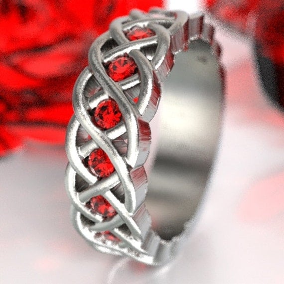 Celtic Ruby Wedding Band, Ruby Stones in 4 Cord Braided Knot Design, Sterling Silver, Made in Your Size CR-1008