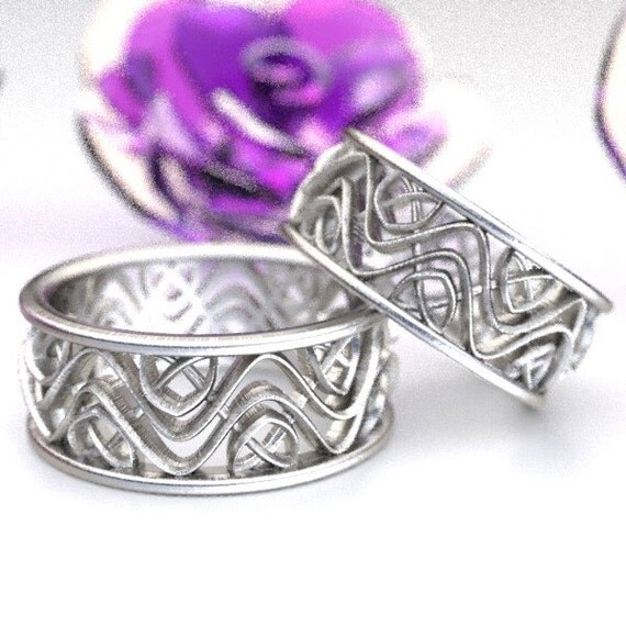 Wedding Ring Set With Celtic Dara Interwoven Knotwork Design in Sterling Silver, Made in Your Size CR-642