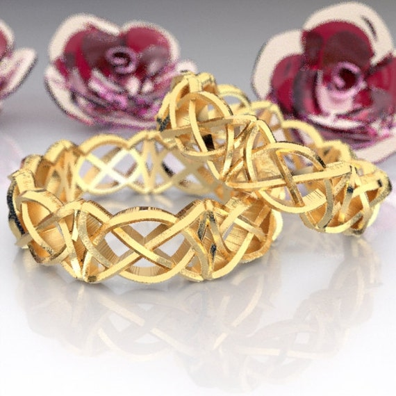 Celtic Wedding Ring Set With Pretzel Triangle Cut-Through Knotwork Design Made in 10K 14K 18K Gold or Palladium, Made in Your Size, Cr-50