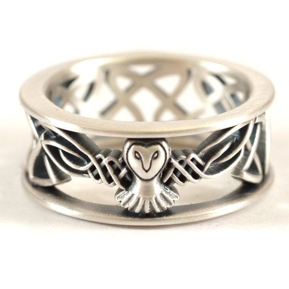 Sterling Silver Owl Wedding Band, Celtic Owl Ring, Mens Wedding Band, Irish Wedding Ring, Owl Jewelry, Celtic Knot Ring, Custom Size CR-1016