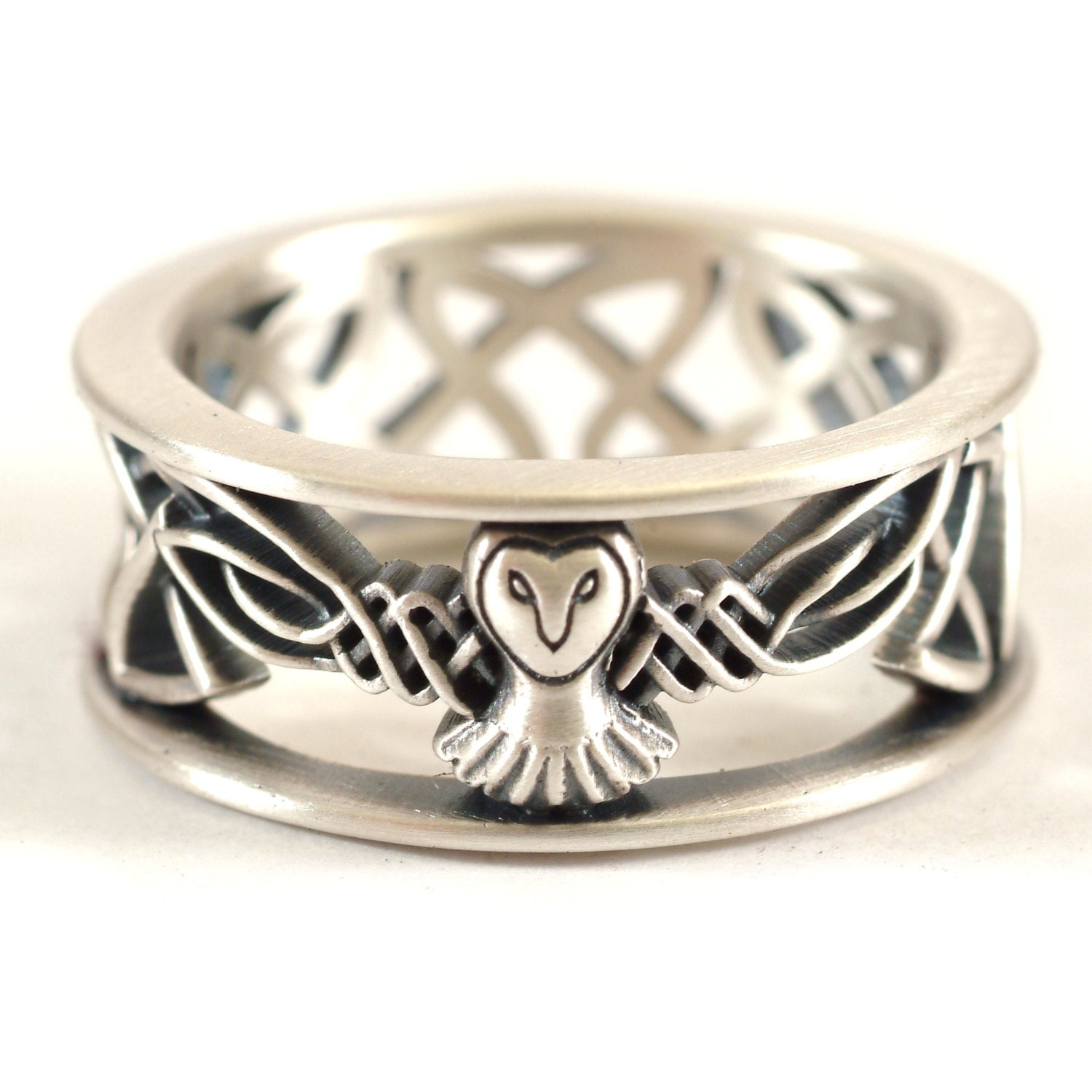 Sterling Silver Owl Wedding Band Celtic Ring Mens Irish Jewelry Knot Custom Size CR 1016