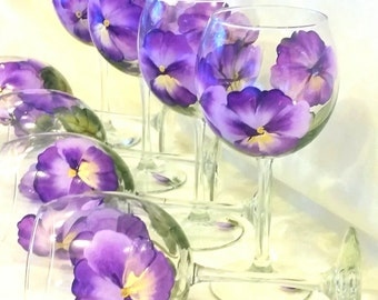 Purple Pansy Stemware, set of 2, hand painted