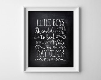 Peter Pan Nursery PRINTABLE - Little boys should never be sent to bed - Black and White Chalkboard Effect - Twins - Brothers - SKU:620