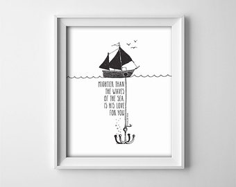 Bible Verse Nursery PRINTABLE Art - Mightier than the waves - Black And White -  Scripture Verse - Baptism Gift - SKU#048