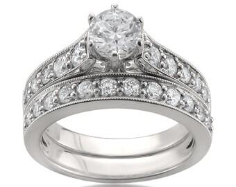 14k White Gold IGI Certified Round Diamond Engagement Bridal Wedding Ring Set (1 5/8 cttw, H-I, I1)