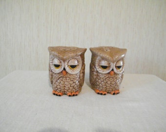 Owls Salt and Pepper Shakers, Vintage ceramic wise Birds, Novelty shaker set for your country kitchen, shabby chic kitchen