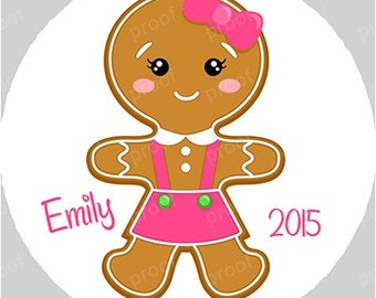 Gingerbread Girl Personalized Christmas Acrylic Ornament