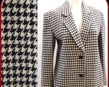 ON SALE CLEARANCE Lillie Rubin blazer, jacket, coat, vintage 80s,  black white, hounds tooth check, classic sz 6