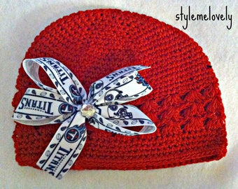 Tennessee Titans Baby Girl Boutique Bow Crocheted Hat