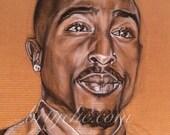 "11"" x 14"" Fine Art Print of ""Tupac Shakur"" Charcoal Drawing on Board by Sabrina Tillman McGowens"
