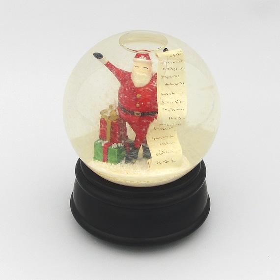 Here comes santa claus christmas snowglobe vintage musical