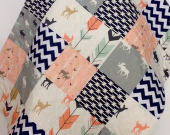 Baby Quilt, Girl, Moose, Bow and Arrow, Fawn, Woodland, Birch Forest, Deer, Navy, Mint, Coral, Gray, Crib Bedding, Baby Bedding, Children