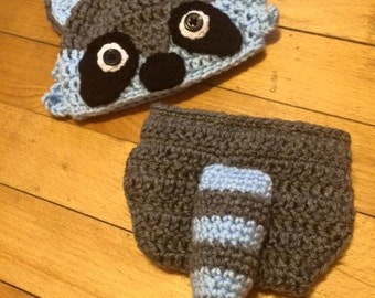 Newborn Raccoon Hat and Diaper Cover