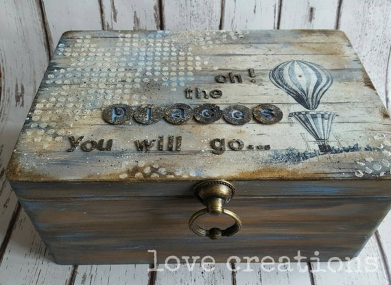 "Handcrafted large wooden treasure, storage, vintage keepsake box, Gift, Anniversary, Special Occasions,Christmas,  ""the places You'll go"""
